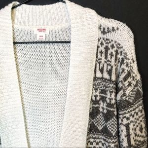 Mossimo Supply Co. Sweaters - Mossimo Grey & White Winter Open Cardigan